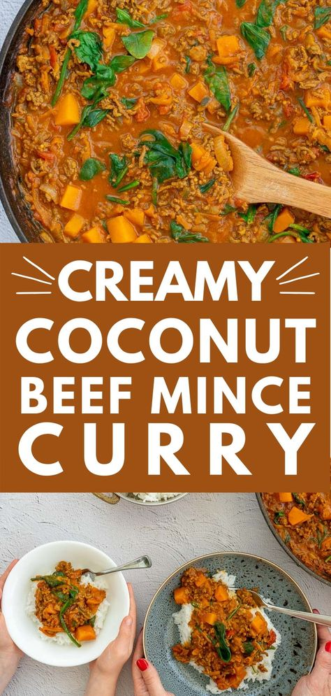 Mince Curry, ground beef, curry flavours, and coconut milk come together in this easy family-friendly dinner #familydinner #curryrecipes #easydinnerrecipe #easydinner