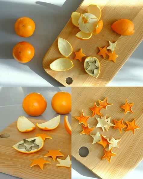 Leuk om eens te proberen: sterren uit sinaasappelschillen, gaatje erin en dan rijgen. Leuke en geurende (?) versiering.