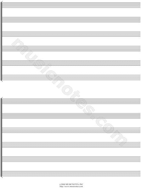 Print and download Manuscript Paper for Sextet (Free Blank Sheet - blank sheet of paper with lines