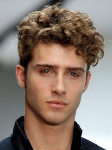 No Fuss Brown Wavy Short Men Wigs Men S Curly Hairstyles Curly Hair Men Thick Curly Hair