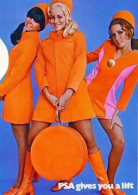 mod fashion Come fly with us! (via) ( Vintage PSA poster - retro air travel advertisement / mod stewardess / fashion / orange ) Sixties Fashion, Retro Fashion, Vintage Fashion, Twiggy, Patti Hansen, Lauren Hutton, Vintage Mode, Flight Attendant, Up Girl