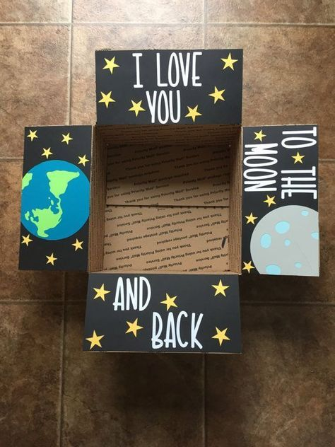 I love you to the moon Care Package Flaps by AJandCoCarePackages #ajandcocarepac... #ajandcocarepac #AJandCoCarePackages #care #flaps #love #Moon #package