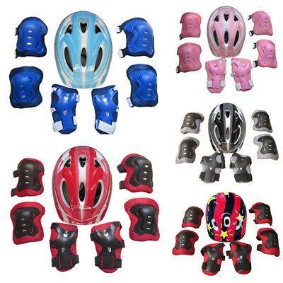 Boys Girls Kids Safety Helmet /& Knee /& Elbow Pad Set For Cycling Skate Bike New