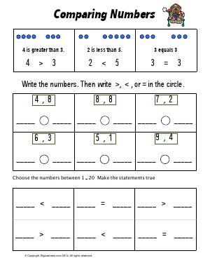 Worksheet Comparing Numbers Use Comparison Symbols To Show Less Than Greater Than Or Equal To When Comparing Tw Comparing Numbers Worksheets Greater Than