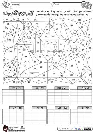 Matemticas sumas dibujos para pintar con sumas  multiplicacion