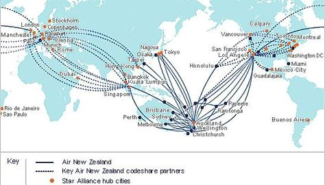 Air New Zealand, International Route Map, 2008 | Airline ...