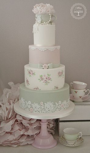 Tea Cup #Wedding Cake Tracy James Cotton and Crumbs Love the lace and buttons on…
