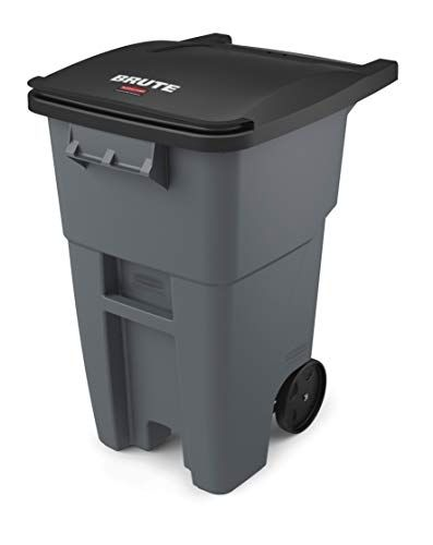 Rubbermaid Commercial Products Fg9w2700gray Brute Rollout Heavy Duty Wheeled Trash Garbage Can 50 Gallon Gray Rubbermaid Commercial Products Heavy Duty Wheels Trash Cans