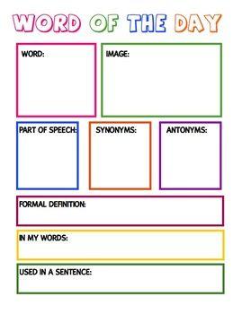 vocabulary building worksheet