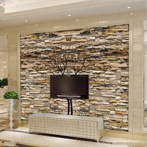 3d Brown Stone Wall Photo Wallpaper Mural For Home Or Business Stone Wall Interior Design Stone Walls Interior Stone Wall Living Room