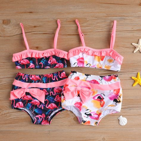 Baby Girl's Sister Flamingo Pattern Strap Swim Top and