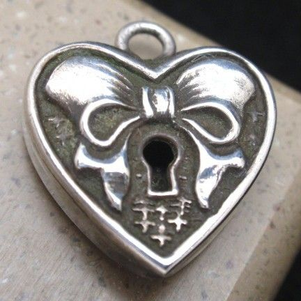 Heart Charm Vintage Sterling Silver Padlock Shaped with Bow