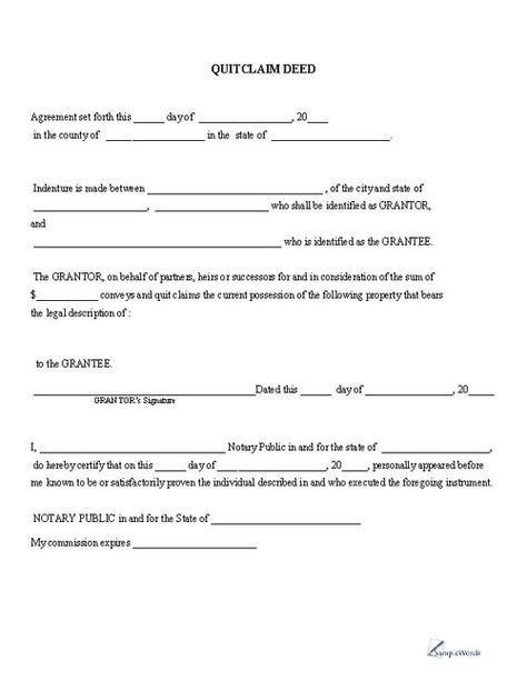 quick claim deed form free download  Quitclaim Deed - Printable PDF Download Template Sample ...