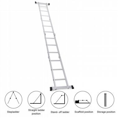 Goplus 12 5ft En131 330lb Multi Purpose Step Platform Aluminum Folding Scaffold Ladder Shop Your Way Onlin Scaffold Ladder Multi Purpose Ladder Multi Ladder