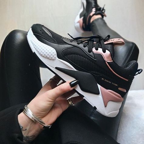 The new Puma RS-X in black, white and pink. Cool Puma sneakers for