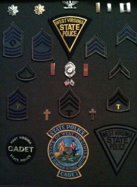 West Virginia State Police Ranks Patches Wvsp Sr Tpr Tfc Cpl Sgt M Sgt 1 Sgt 2nd Lt 1st Lt Major Lt Col State Police Police State Trooper
