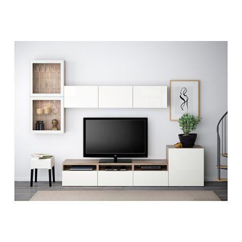 BESTÅ Combinaison rangt TV/vitrines - motif noyer teinté gris/Selsviken brillant/blanc verre transparent, glissière tiroir, fermeture silence - IKEA