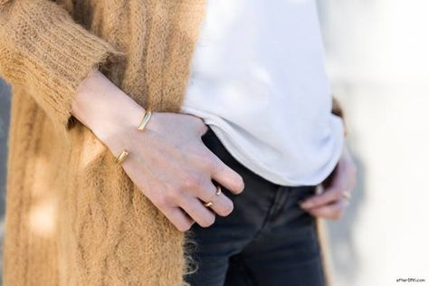 Honestly WTF blogger wearing her Stop It Right Now x Jennifer Fisher brass cuff and ring