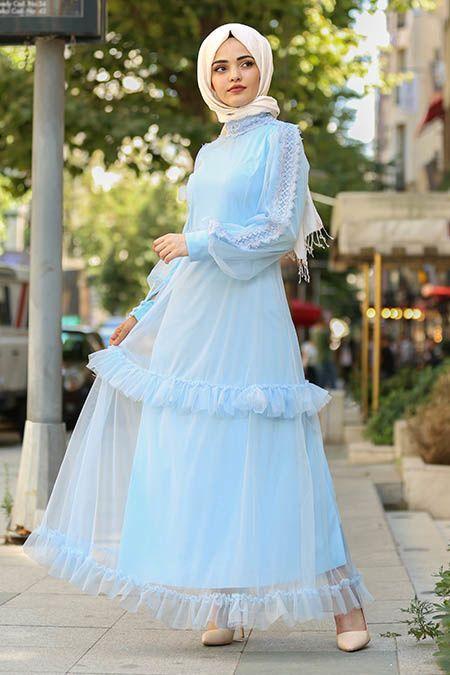 New Kenza Tullu Bebek Mavisi Tesettur Elbise 3168bm Tesetturisland Com Elbise Modelleri Elbise Uzun Elbise
