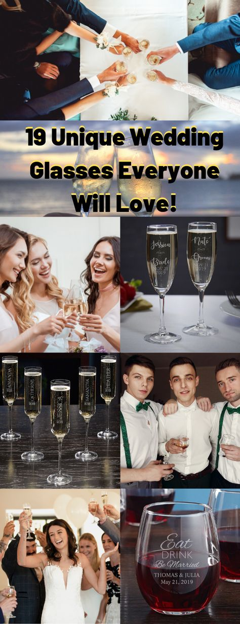 Get everyone in the wedding party their own unique wedding glasses as favors! #weddingglasses #weddingpartygifts #weddingfavors
