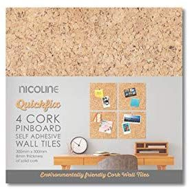 Nicoline Self Adhesive Cork Pin Board Tiles Noticeboard Messages 4 Pack Amazon Co Uk Diy Tools Self Adhesive Wall Tiles Adhesive Pinboard