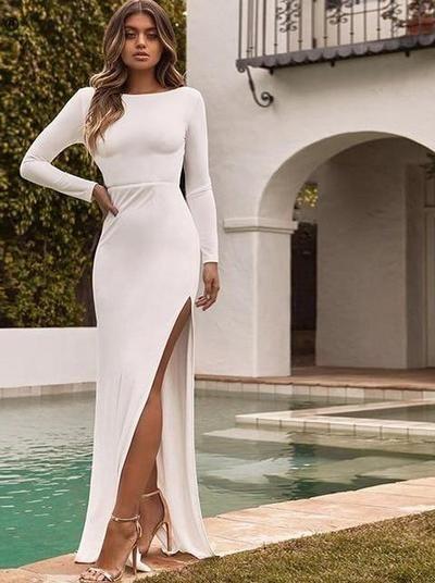 0b443f07c67b8 Nadafair backless women long party dress vestidos spring long sleeve ...