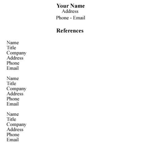 Sample Reference List for Employment Survival - references in resume