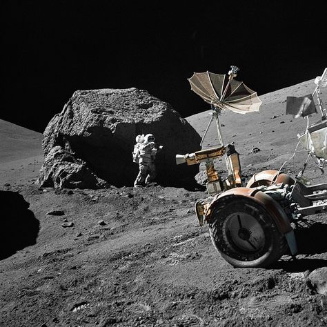 (13 December 1972) --- Scientist-astronaut Harrison H. Schmitt is photographed working beside a huge boulder at Station 6 (base of North Massif) during the third Apollo 17 Extravehicular Activity (EVA-3) at the Taurus-Littrow landing site. This picture was taken by astronaut Eugene A. Cernan, Apollo 17 commander.