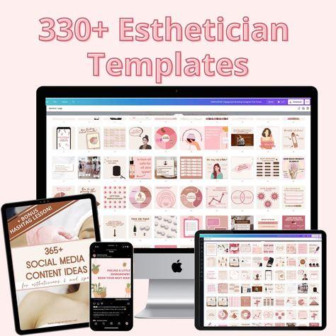 330+ Esthetician Skincare Templates Bundle + 365 Social Media Idea Guide for Estheticians   Esthetician Template   Skincare Template Posts