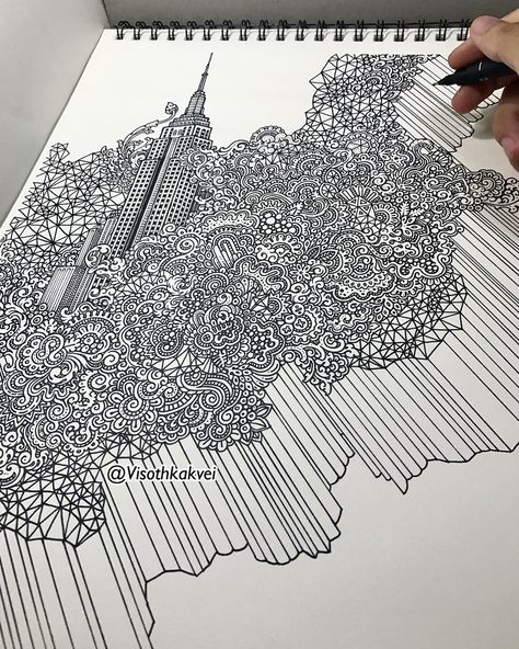 Empire State Building NY USA. Color and Black and White Dynamic Doodles. By Visoth Kakvei.