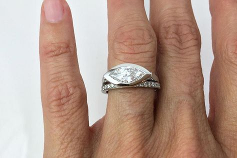 Slim-Marquis-Ring-Pave-Diamond-Band #stackablerings