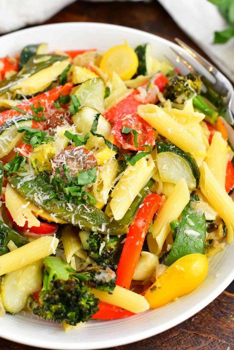 Pasta Primavera - Loaded with Vegetables and Lemon Parmesan Sauce