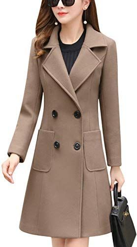 Gihuo Womens Elegant Single Breasted Long Trench Coat Wool Blend Overcoat