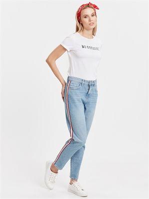 Serit Detayli Bilek Boy Mom Jean Pantolon Lc Waikiki Pantolon Moda Stilleri Jean