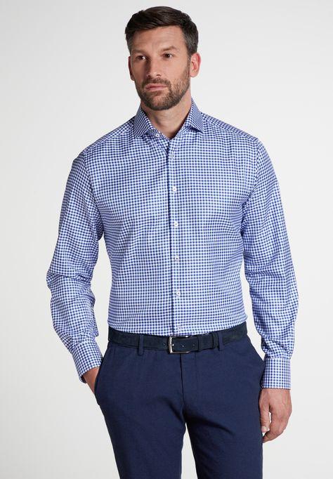 ETERNA Hemd in blau / weiß