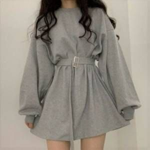 HW Studio Mini Sweatshirt Dress / Long-Sleeve Mini T-Shirt Dress
