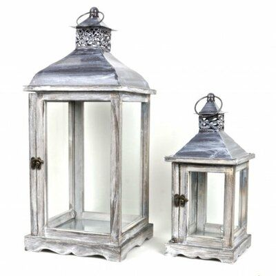August Grove Traditional 2 Piece Wood Metal Lantern Set Lantern Set Metal Lanterns Lanterns