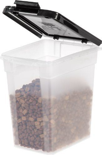Iris Airtight Pet Food Container 10 Pound Clear Black By Iris