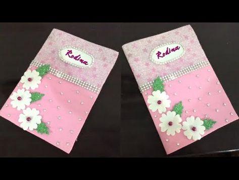 تزيين غلاف دفاتر أوكشكول من الخارج أعمال يدويه للدراسه تزيين كراسات المدرسه Youtube Floral Floral Tie Tableware