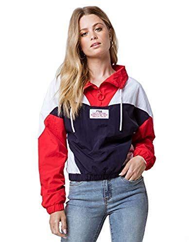 Fila Women S Tessa Funnel Neck Top Peacoat Chinese Red W Https Www Amazon Com Dp B07hcsstlw Ref Cm Sw R P Jacket Outfit Women Tracksuit Women Fila Jacket