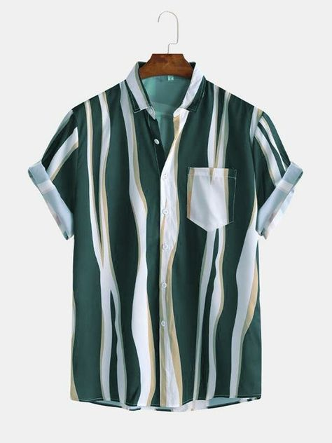 Occasion: Daily, Casual Color: Blue, Black, Green Size: S, M, L, XL Pattern: Striped Collar: Lapel Collar Sleeves Length: Short Sleeve Thickness: Moderate Season: Summer, Spring Material: Polyester Design Element: Pocket, Button Fit Type: Loose