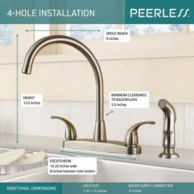 Peerless P299578lf Double Handle Kitchen Faucet With Side Spray