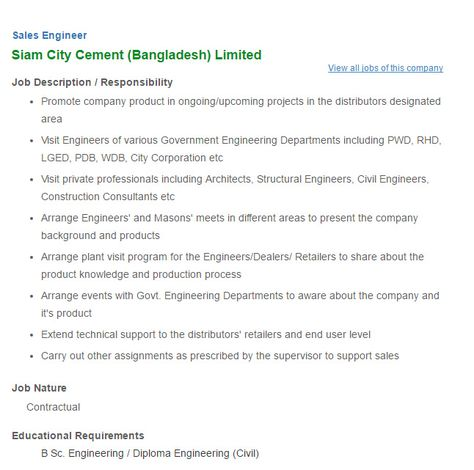 Siam City Cement (Bangladesh) Limited Sales Engineer Job Circular - engineer job description