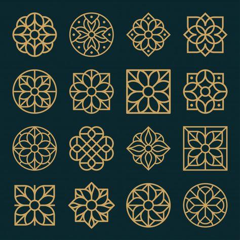 Ornament logo and icon design set. Design Set, Icon Design, Islamic Art Pattern, Arabic Pattern, Pattern Art, Stencil Patterns, Zentangle Patterns, Motifs Islamiques, Motif Art Deco