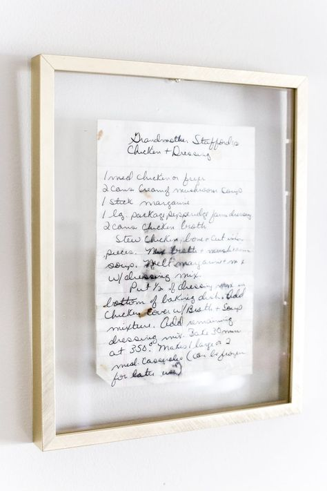 How to Preserve and Frame Handwritten Recipes and Letters