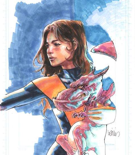 Kitty Pryde and Lockheed ~ art by Leinil Yu... with MARKERS !