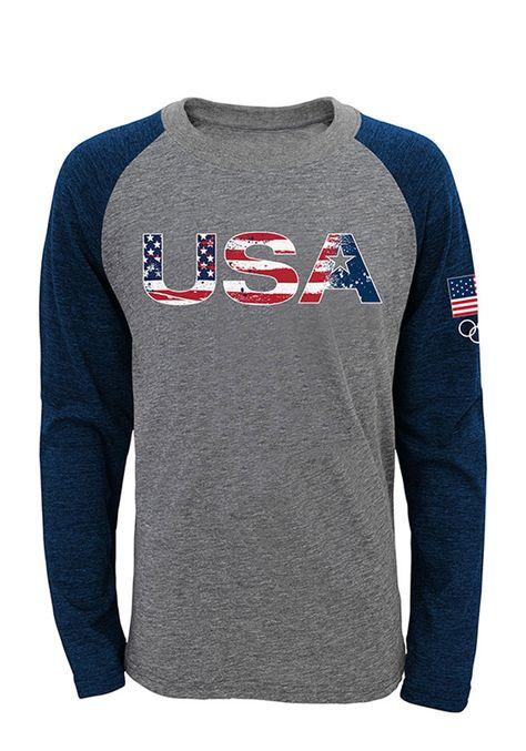 Team USA Olympics Flag Raglan ¾ Sleeve T Shirt - 133495004