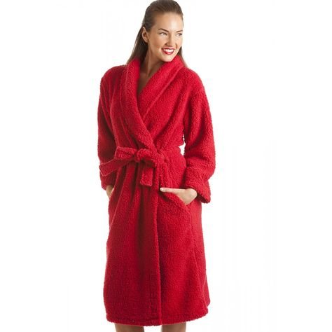 Ladies Red Luxury Soft Cosy Winter Wrap Fleece Super Warm Dressing Gown//Robe