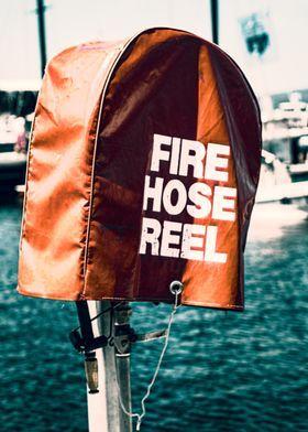 Fire Hose Reel Red Nautical Retro Industrial Urban