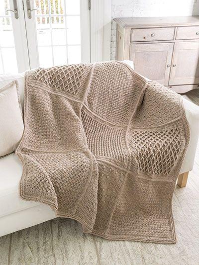 ANNIE'S SIGNATURE DESIGNS: Gansey Block Crochet Afghan. Order here: https://www.anniescatalog.com/detail.html?prod_id=148850